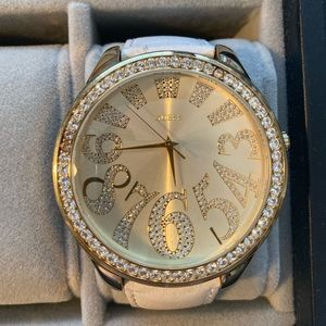 GUESS Big Face Watch with Rhinestone Numbers